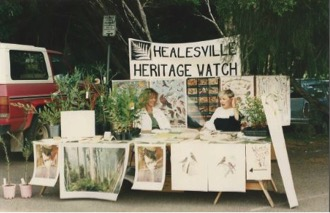 Healesville Heritage Watch members at River Street Market - 1989. Market stalls were a regular community engagement activity for HHW.